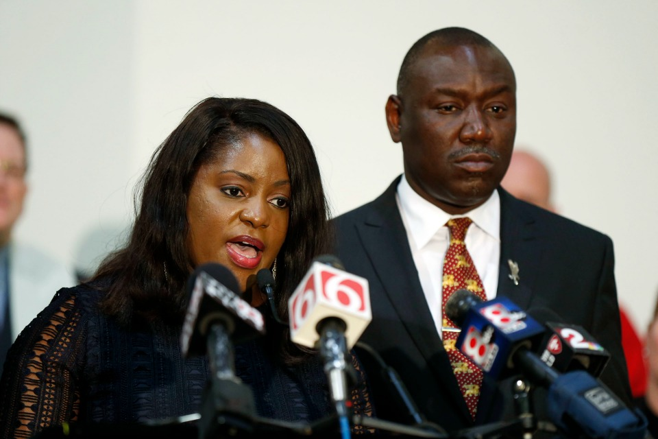 Tiffany Crutcher, sister of Terence Crutcher, and Benjamin Crump speak during a press conference in Tulsa, Okla., Thursday, May 18, 2017.