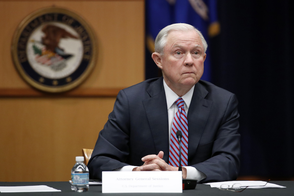 April 18, 2017 file photo, Attorney General Jeff Sessions is seen at the Justice Department in Washington. Sessions is directing federal prosecutors to pursue the most serious charges possible against the vast majority of suspects, a reversal of Obama-era policies that is sure to send more people to prison and for much longer terms. (AP Photo/Alex Brandon, File)