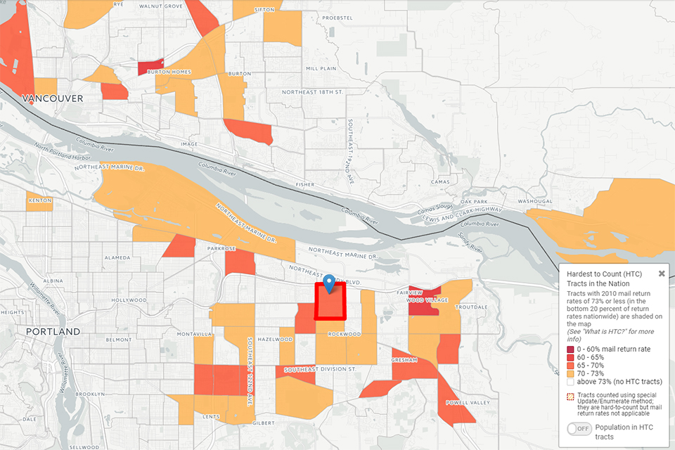 A new map shows census tracts that may be harder to count in the 2020 decennial census count. Tracts with higher populations of people of color – including tracts in East Multnomah County – may be at particular risk, researchers say. Captured from http://www.censushardtocountmaps2020.us/.