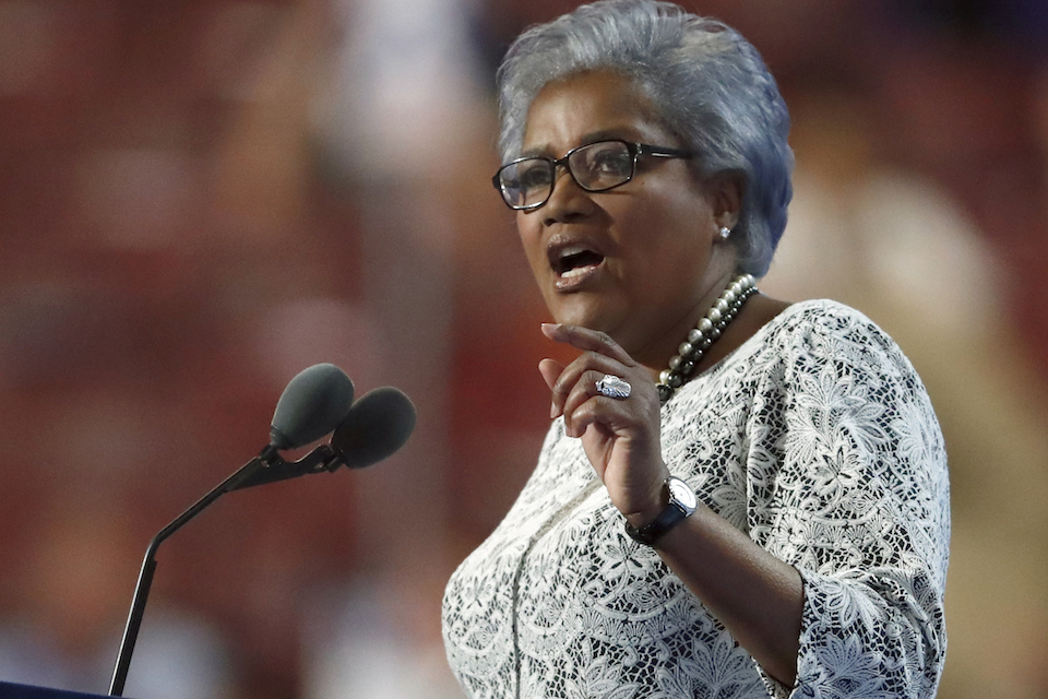 Former head of the Democratic National Committee Donna Brazile speaking during the second day of the Democratic National Convention in Philadelphia, July 26, 2016. Brazile says she considered replacing Hillary Clinton as the party's presidential nominee with then-Vice President Joe Biden. She makes the revelation in a memoir being released Tuesday, Nov. 7, 2017. This is according to The Washington Post, which obtained an advance copy of the book. (AP Photo/Paul Sancya, file)