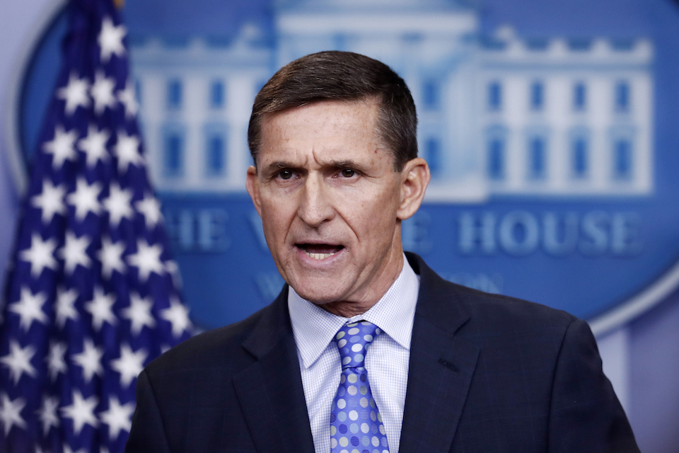 National Security Adviser Michael Flynn speaks during the daily news briefing at the White House, in Washington, Feb. 1, 2017. A lawyer for former national security adviser Flynn has told President Donald Trump's legal team that they are no longer communicating with them about special counsel Robert Mueller's investigation into Russian election interference, according to a person familiar with the decision who spoke to The Associated Press on condition of anonymity. (AP Photo/Carolyn Kaster, File)