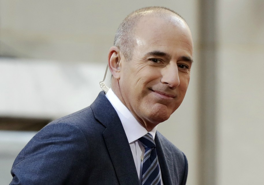 "Matt Lauer, co-host of the NBC ""Today"" television program, appears on set in Rockefeller Plaza, in New York. NBC News announced Wednesday, Nov. 29, 2017, that Lauer was fired for ""inappropriate sexual behavior."" (AP Photo/Richard Drew, File)"