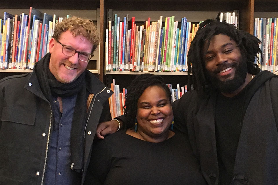 Brendan Kiely (left), poses with Renée Watson and Jason Reynolds at a Nov. 7 event at the North Portland Library.
