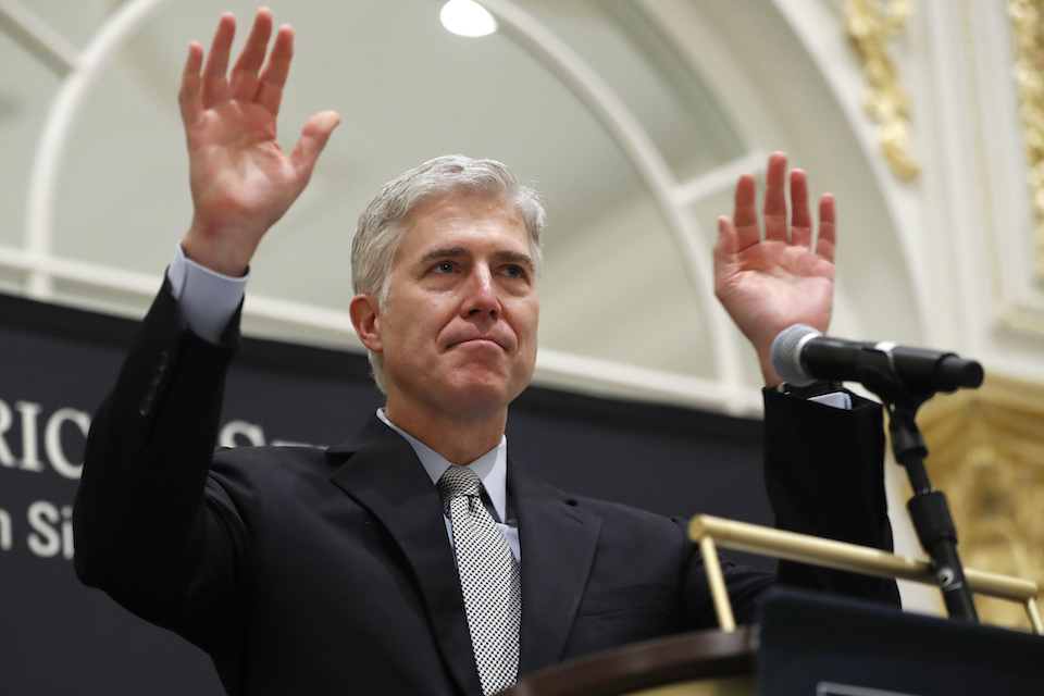 Supreme Court Justice Neil Gorsuch gestures as he acknowledges applause from the audience as he beings to speak at the 50th anniversary of the Fund for America Studies luncheon at the Trump Hotel in Washington, Thursday, Sept. 28, 2017. (AP Photo/Pablo Martinez Monsivais)