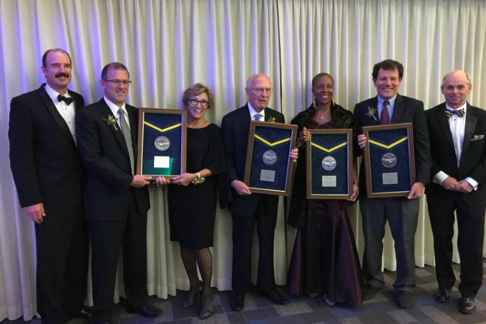 From left to right: Carl Christoferson (OHS board president), Mark and Pat Reser (recipients), Bill Schonley (recipient), Nathalie Johnson (recipient), Nicholas Kristof (recipient), and Kerry Tymchuck (OHS executive director).