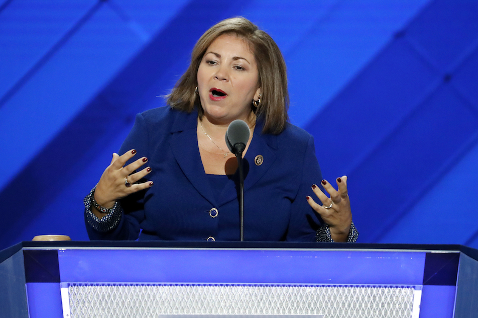 "Rep. Linda Sanchez, D-Calif., speaks during the first day of the Democratic National Convention in Philadelphia, July 25, 2016. One current and three former female members of Congress tell The Associated Press they have been sexually harassed or subjected to hostile sexual comments by their male colleagues while serving in the House. ""When I was a very new member of Congress in my early thirties, there was a more senior member who outright propositioned me, who was married, and despite trying to laugh it off and brush it aside it would repeat. And I would avoid that member,"" said Sanchez. (AP Photo/J. Scott Applewhite, File)"