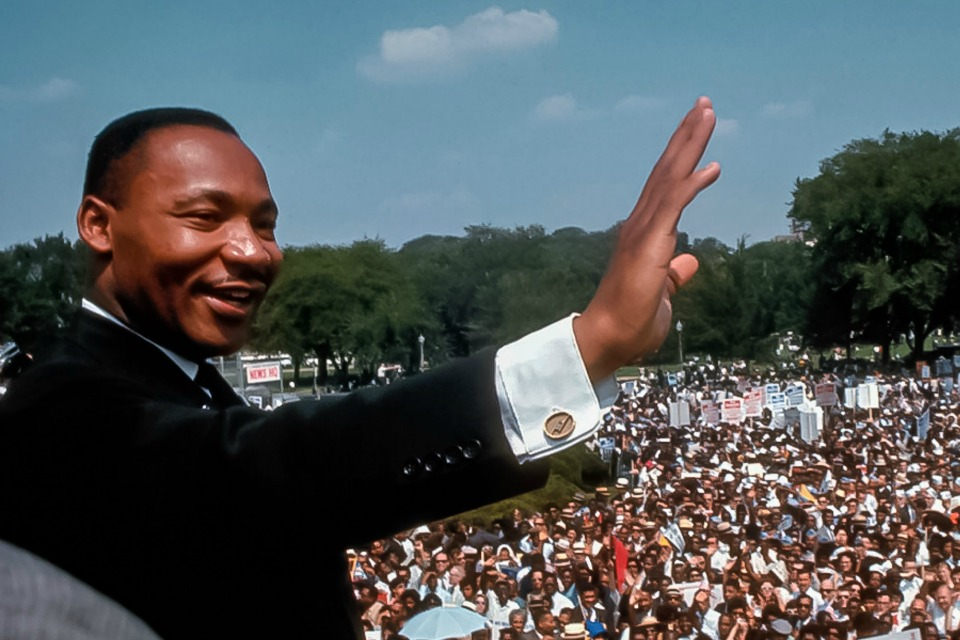"Martin Luther King Jr. giving the famous ""I Have a Dream"" speech Mar. 28, 1963 at the Lincoln Memorial (National Archives)"