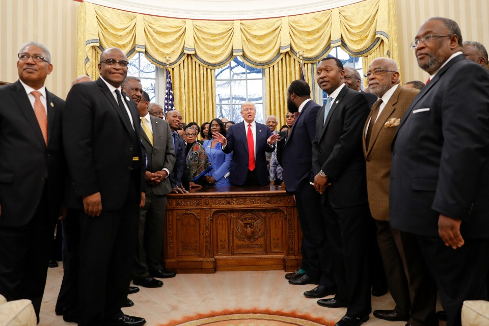 President Donald Trump meets with leaders of Historically Black Colleges and Universities (HBCU) in the Oval Office of the White House in Washington.