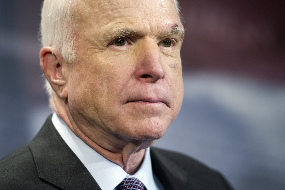 Sen. John McCain, R-Ariz., speaks to reporters on Capitol Hill in Washington, July 27,2017. McCain says he won't vote for the Republican bill repealing the Obama health care law. His statement likely deals a fatal blow to the last-gasp GOP measure in a Senate showdown expected next week. (AP Photo/Cliff Owen, file)