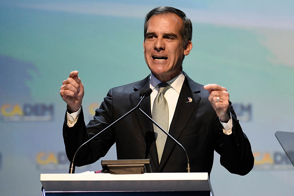 In this Saturday, Feb. 24, 2018, file photo, Los Angeles Mayor Eric Garcetti speaks at the 2018 California Democrats State Convention in San Diego. Garcetti, like other Democratic mayors considering the presidential race in 2020, is hoping to show party activists that his experience running a city can preview success on the national scene. He planned to make his debut in Iowa on April 13, talking to union carpenters, seeing representatives from the Asian, Latino and LBGTQ communities and headlining a county party dinner. (AP Photo/Denis Poroy, File)