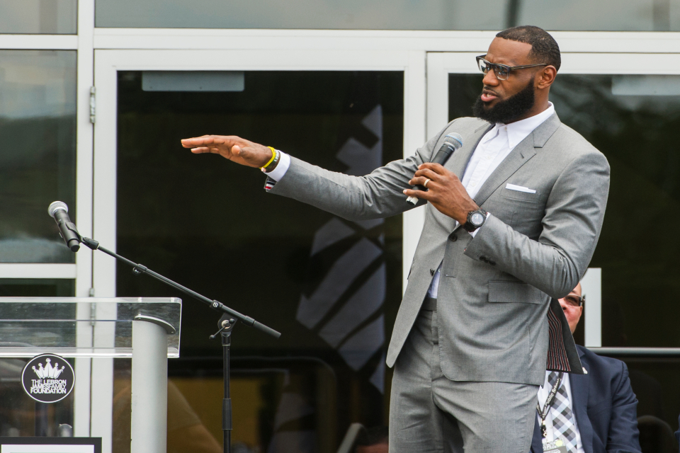 LeBron James speaks at the opening ceremony for the I Promise School in Akron, Ohio, Monday, July 30, 2018. (AP Photo/Phil Long)