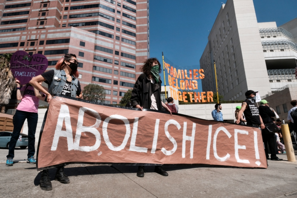 "In this July 2, 2018, file photo, protesters display a sign that reads ""Abolish ICE"" during a rally in front of the Immigration and Customs Enforcement facility in downtown Los Angeles. U.S. Immigration and Customs Enforcement is the face of President Donald Trump's hard-line immigration policy. But agency officials say their mandate is misunderstood. Government data shows ICE is mostly targeting criminals, but also that the agency has greatly ramped up overall arrests and increased the number of people arrested solely on immigration violations. And the most frequent criminal conviction was for drunken driving. (AP Photo/Richard Vogel, File)"