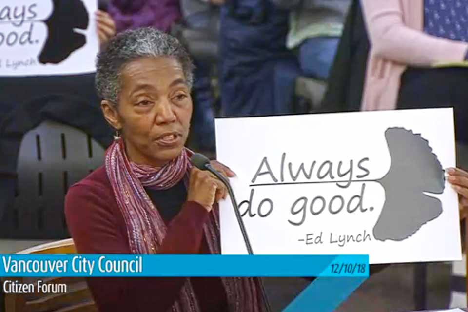 Cecelia Towner testifying at Vancouver, Washington city council meeting Dec. 10