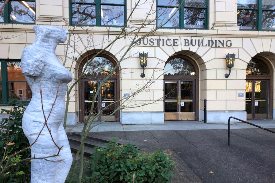 The Oregon Justice Building that houses the state appeals court is seen in Salem, Ore., on Wednesday, Dec. 5, 2018. After losing an appeal in the court late Tuesday, leaders in the Oregon Legislature said Wednesday they'll obey a judge's order to turn over documents to the state's labor commissioner who is investigating sexual harassment at the Capitol. (AP Photo/Andrew Selsky)