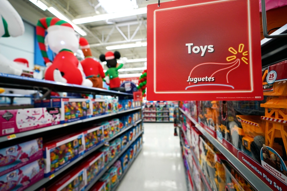 In this Friday, Nov. 9, 2018 photo, toys sit on the shelves at a Walmart Supercenter in Houston. Pediatricians say the best toys for young children are simple, old-fashioned toys like blocks and puzzles rather than costly electronic games or the latest high-tech gadgets. The advice is in a new report on selecting toys for young children in the digital era. It was published Monday, Dec. 3 by the American Academy of Pediatrics. (AP Photo/David J. Phillip, File)