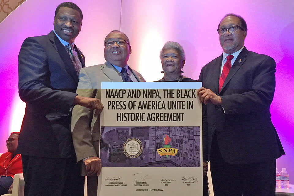 Derrick Johnson, the president and CEO of the NAACP; Leon Russell, the chairman of the NAACP; Dorothy Leavell, the chairman of the NNPA, and Dr. Benjamin F. Chavis, Jr.