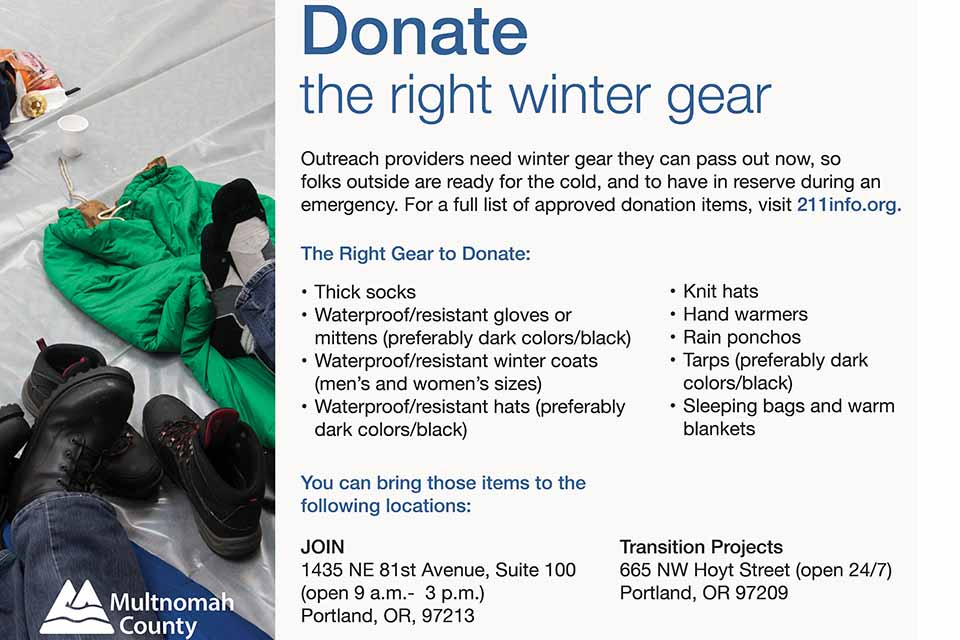 Winter Warming Shelters donation advisory