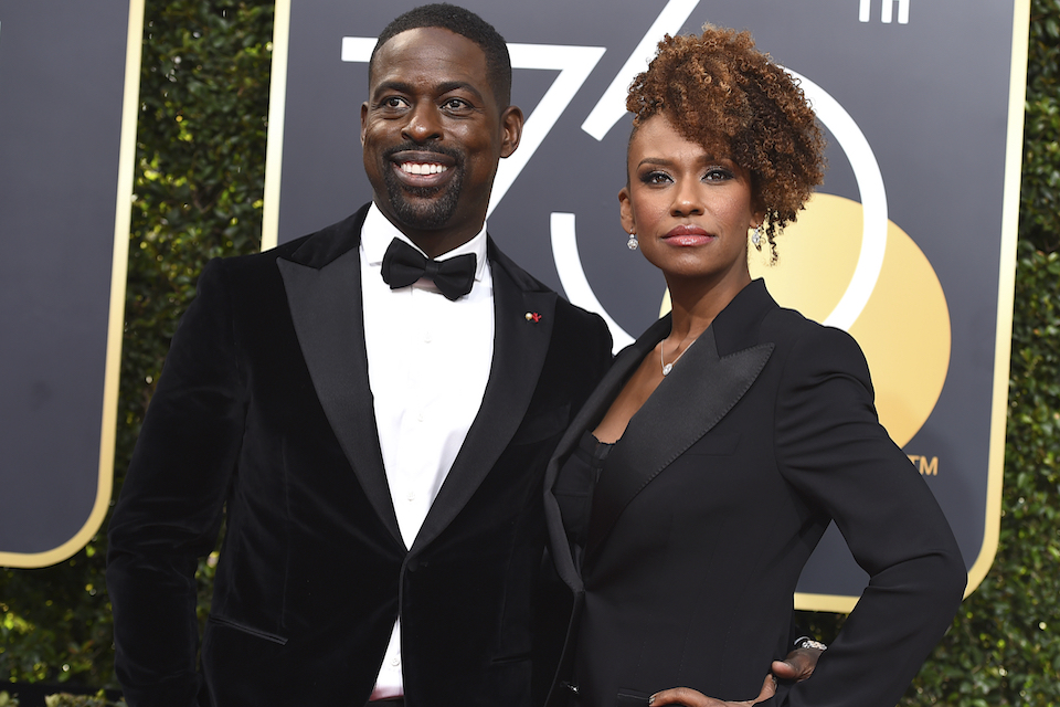 Sterling K. Brown, left, and Ryan Bathe arrive at the 75th annual Golden Globe Awards at the Beverly Hilton Hotel on Sunday, Jan. 7, 2018, in Beverly Hills, Calif. (Photo by Jordan Strauss/Invision/AP)