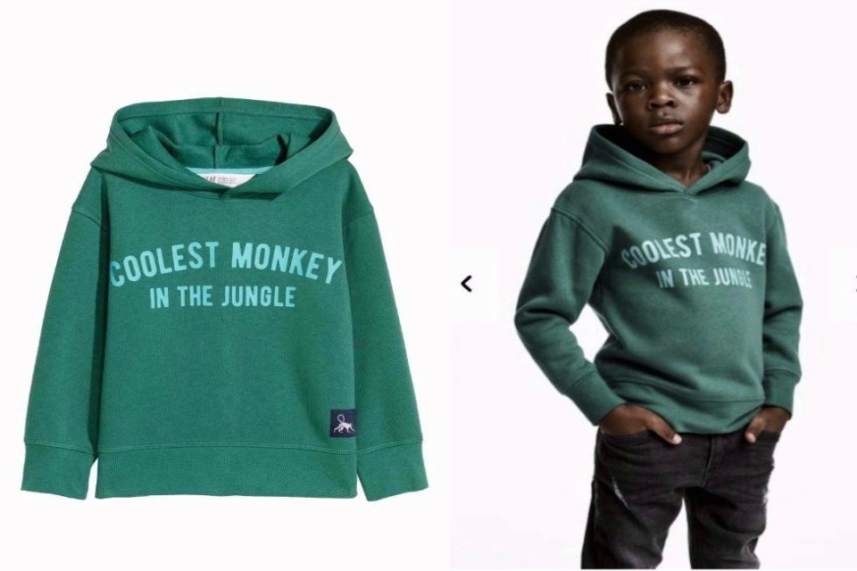 "H&M apologized and removed an advertising image of a black model in a sweatshirt with the words ""Coolest monkey in the jungle.'' The brand removed the image, but kept in place other designs modeled by white children. (H&M via AP)"