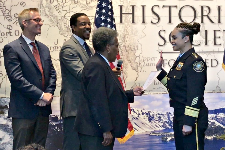 Danielle Outlaw is officially sworn in as new Chief of the Portland Police Bureau, Jan. 22, 2018 at the Oregon Historical Society