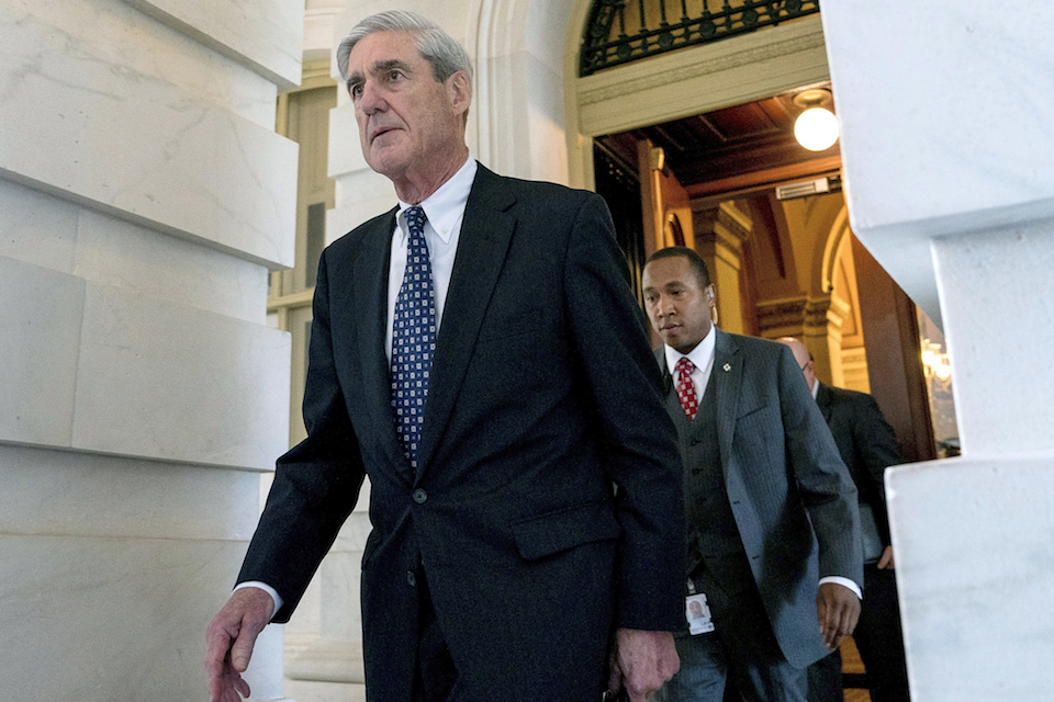 Former FBI Director Robert Mueller, the special counsel probing Russian interference in the 2016 election, departs Capitol Hill following a closed door meeting in Washington, 21, 2017. (AP Photo/Andrew Harnik, File)