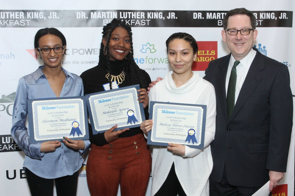 Hiermon Medhanie, Makayla Agnew and Melissa Torres-Duran with sponsor Michael Schill, president of the University of Oregon. (Antonio Harris)