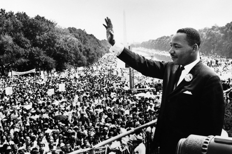 "Martin Luther King Jr., addresses a crowd from the steps of the Lincoln Memorial where he delivered his famous ""I Have a Dream,"" speech during the August 28, 1963 March on Washington for Jobs and Freedom in Washington, D.C. (Wikimedia Commons)"