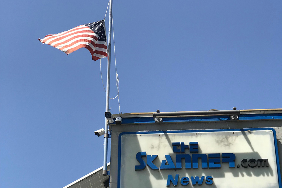 Flag at half mast at The Skanner News in Portland, Oregon