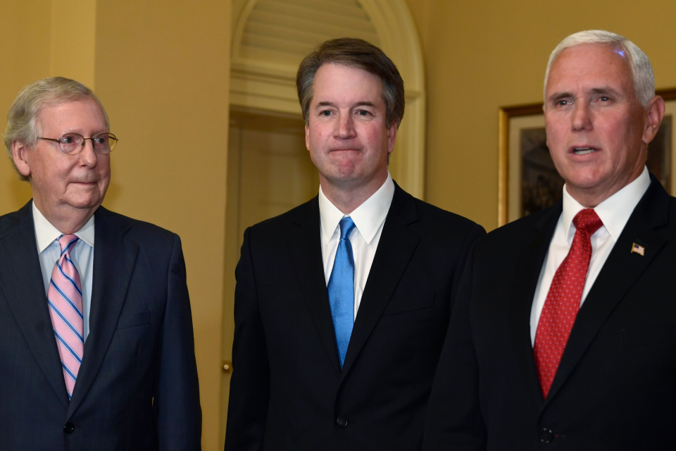 Supreme Court nominee Brett Kavanaugh (center) could bring reversals of hard-won gains securing equal opportunity in education, employment and housing. (AP Photo/Susan Walsh)
