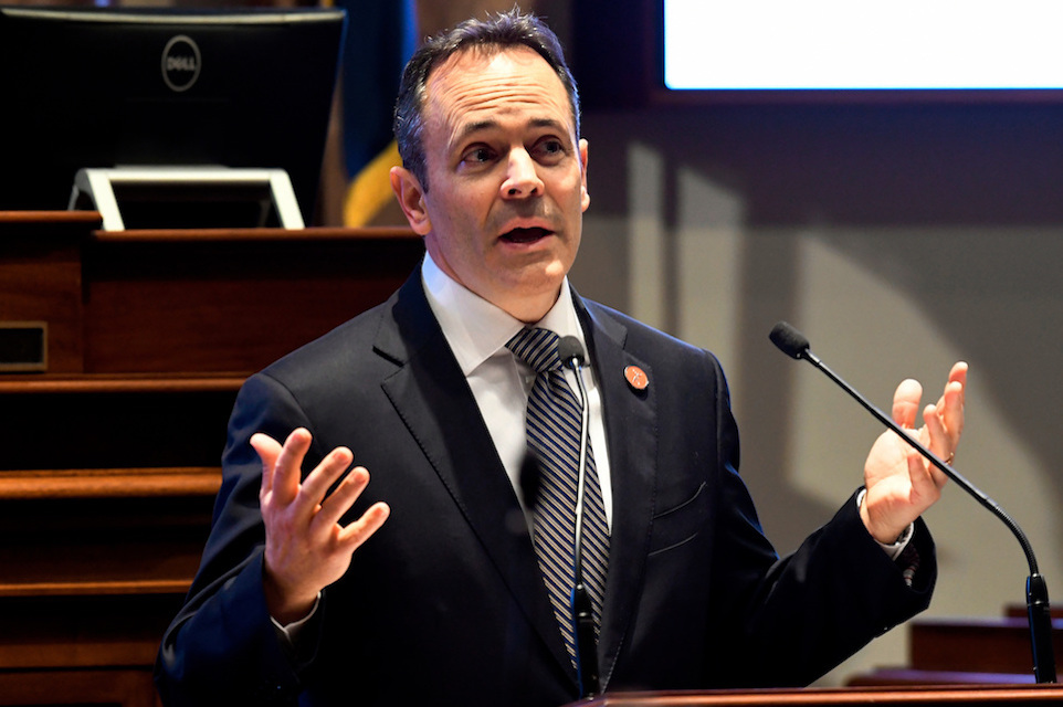 "Kentucky Gov. Matt Bevin speaks to a joint session of the General Assembly at the Capitol, in Frankfort, Jan. 16, 2018. In comments at odds with his home state's whiskey distillers, the Republican governor is downplaying fears that the European Union's retaliatory tariffs could disrupt the booming market for the Bluegrass state's iconic bourbon industry. ""There's always the potential for some type of impact, but I don't think it will be a tremendous impact,"" Bevin said when asked about tariffs during a TV interview this week with Bloomberg. (AP Photo/Timothy D. Easley, File)"