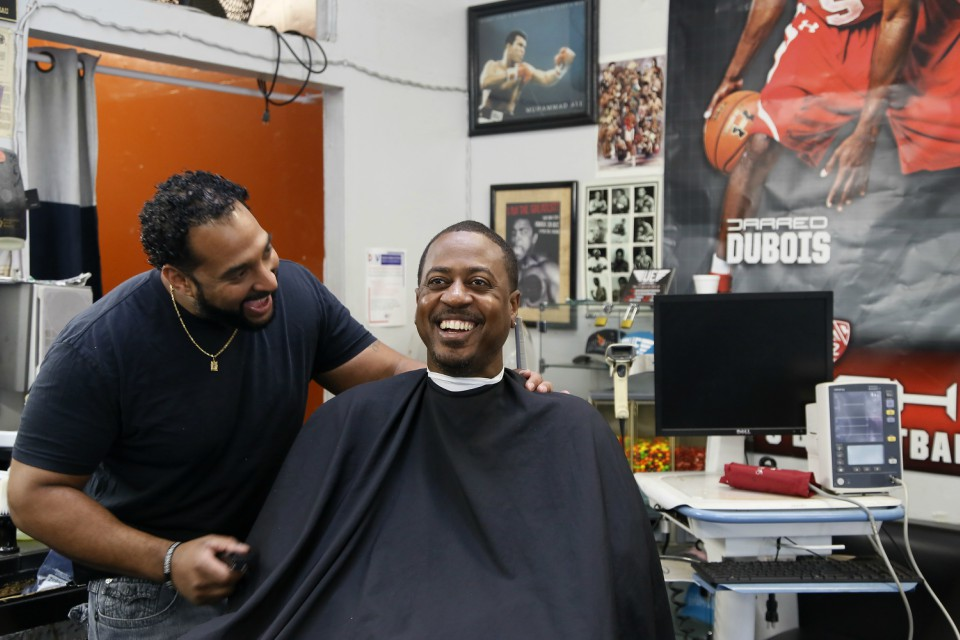 Black male customers at dozens of Los Angeles area barbershops reduced one of their biggest health risks through a novel project that paired barbers and pharmacists to test and treat customers. (AP Photo/Damian Dovarganes)