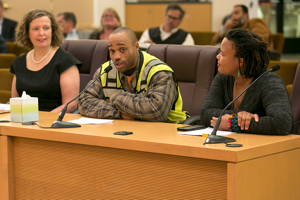 Laborer apprentice Gregory Roseboro addresses the Board of Commissioners at the March 15 meeting. Photo courtesy of Multnomah County.