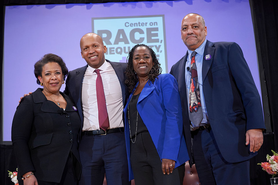 'A Perilous Path' authors Loretta Lynch, Bryan Stevenson, Sherrilyn Ifill, and Anthony G. Thompson