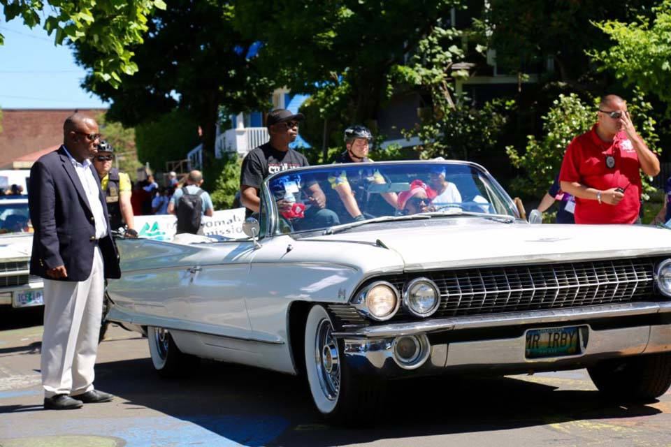 Convertible at 2017 Good in the Hood parade in Portland, Oregon
