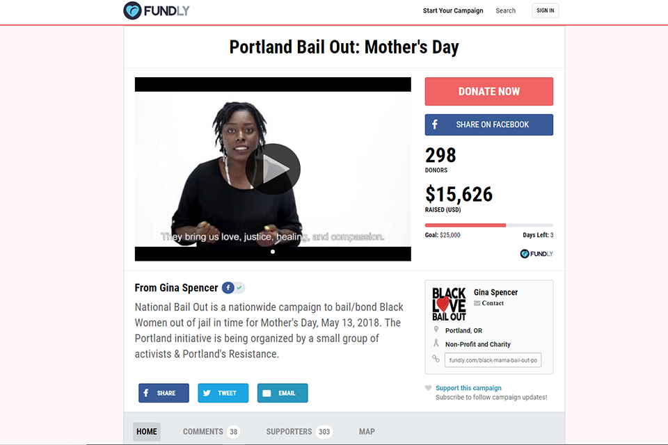 Screencap from Portland's Resistance Mother's Day bailout campaign