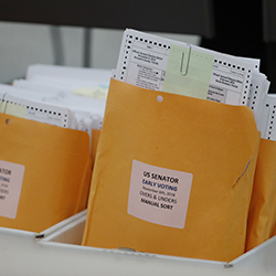 Boxes of over and under ballots waiting to be examined at the Broward County Supervisor of Elections office are shown during a hand recount, Friday, Nov. 16, 2018, in Lauderhill, Fla. Florida's bitter U.S. Senate contest is headed to a legally required hand recount after an initial review by ballot-counting machines showed Republican Gov. Rick Scott and Democratic Sen. Bill Nelson separated by less than 13,000 votes. (AP Photo/Wilfredo Lee)