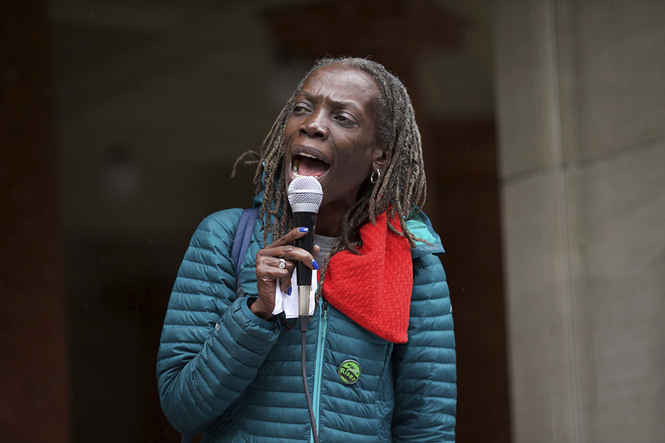 Jo Ann Hardesty speaks at a rally at Portland City Hall in April. On Tuesday Hardesty was decisively elected to the Portland City Commission, making her the first-ever African American woman to serve on the council. (Mark Graves/The Oregonian via AP)