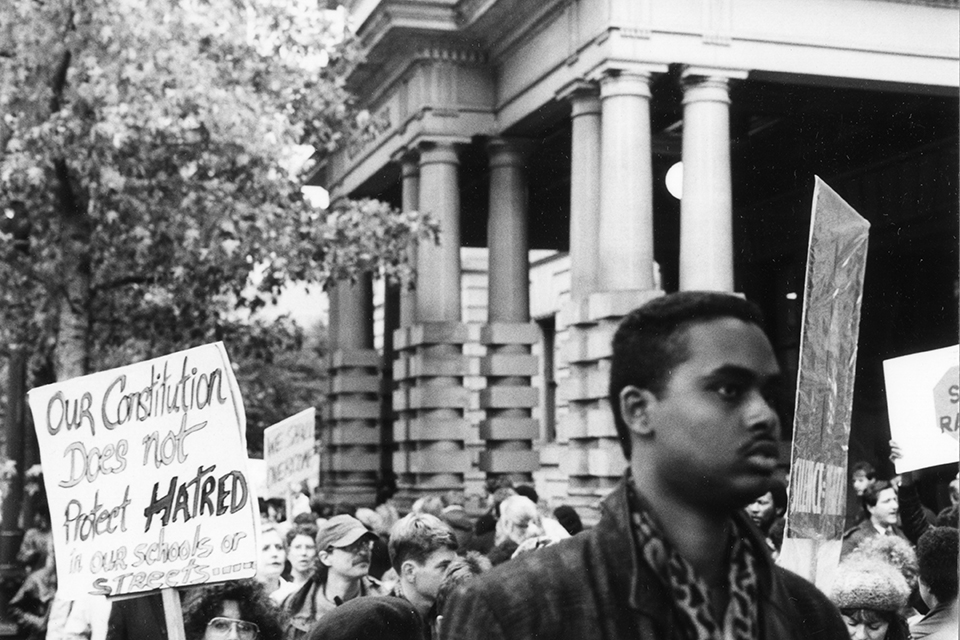 Demonstrators marching in response to Mulugeta Seraw's murder by neo-Nazi skinheads in November 1992. Photo by Jeffrey Hayes via The Skanner News archive.