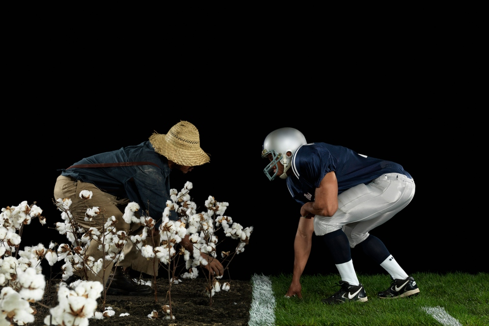 "Hank Willis Thomas, ""The Cotton Bowl, 2011,"" from the series Strange Fruit; from Hank Willis Thomas: All Things Being Equal (Aperture/Portland Art Museum, 2018)"