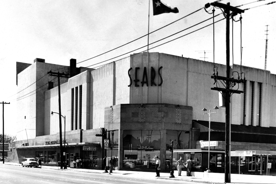 A Sears building in downtown Houston, March 1, 1959. Sears has filed for Chapter 11 bankruptcy protection Monday, Oct. 15, 2018, buckling under its massive debt load and staggering losses. The company once dominated the American landscape, but whether a smaller Sears can be viable remains in question. (Houston Chronicle via AP, File)