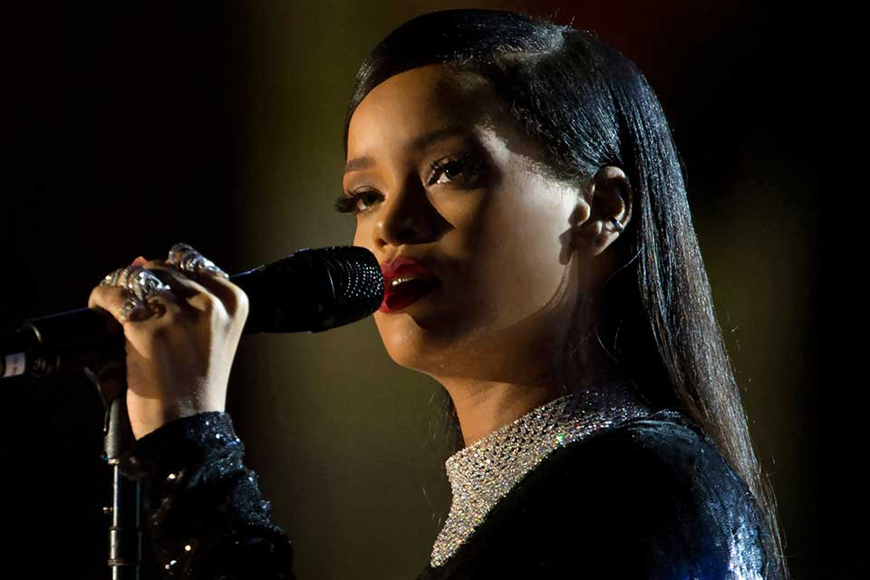 Rihanna sings during The Concert for Valor in Washington, D.C.