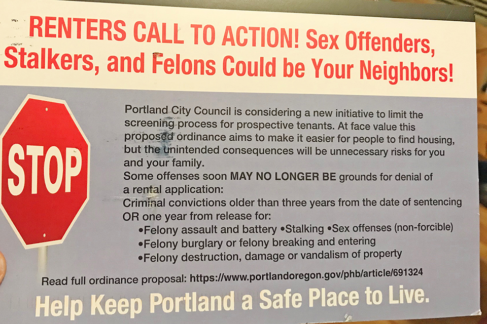 """RENTERS CALL TO ACTION! Sex Offenders, Stalkers, and Felons Could be Your Neighbors!"""