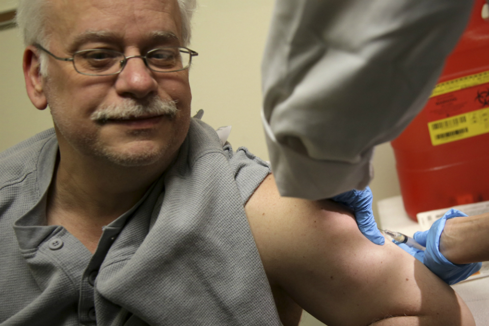 Steve Sierzega receives a measles, mumps and rubella vaccine at the Rockland County Health Department in Pomona, N.Y., Wednesday, March 27, 2019. (AP Photo/Seth Wenig)