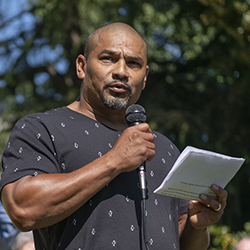 Isidro Andrade-Tafolla speaks at an Aug. 12 rally announcing the ACLU of Oregon's suit against Immigration and Customs Enforcement on Andrade-Tafolla's behalf. Photo by Doug Brown.