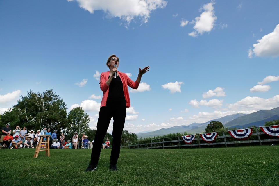 Democratic presidential candidate Sen. Elizabeth Warren, D-Mass., speaks at a campaign event, Wednesday, Aug. 14, 2019, in Franconia, N.H. (AP Photo/Elise Amendola)