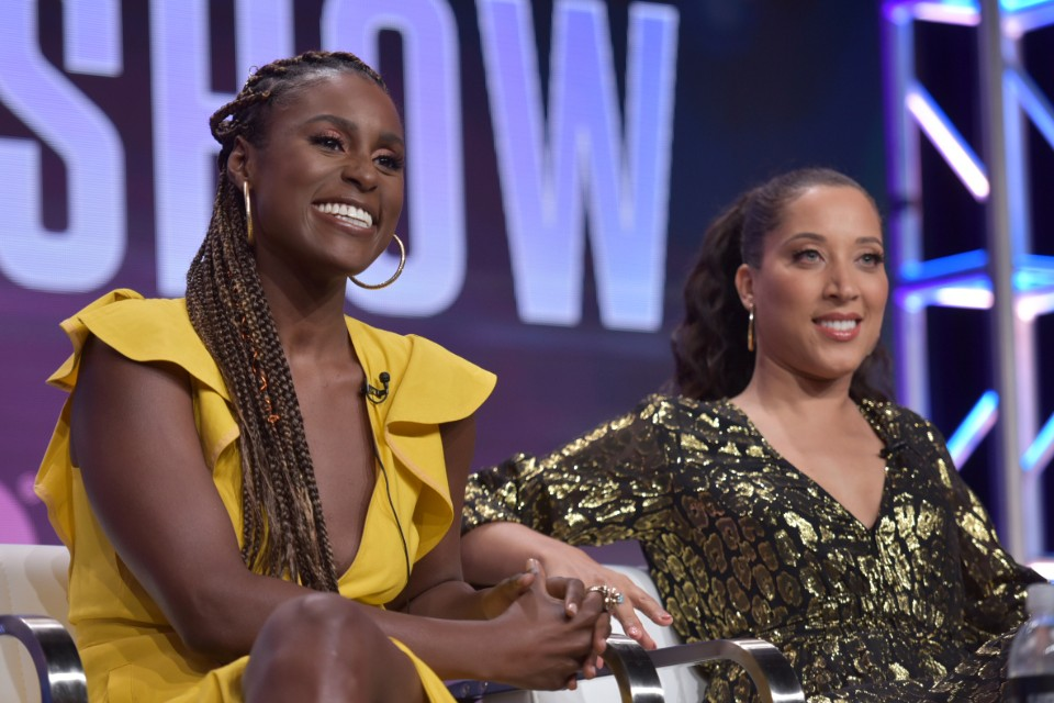 "In this Wednesday, July 24, 2019 file photo, executive producer Issa Rae, left, and Robin Thede participate in HBO's ""A Black Lady Sketch Show"" panel at the Television Critics Association Summer Press Tour in Beverly Hills, Calif. The six-episode series offers sketches written and performed by an all-black female cast. (Photo by Richard Shotwell/Invision/AP, File)"