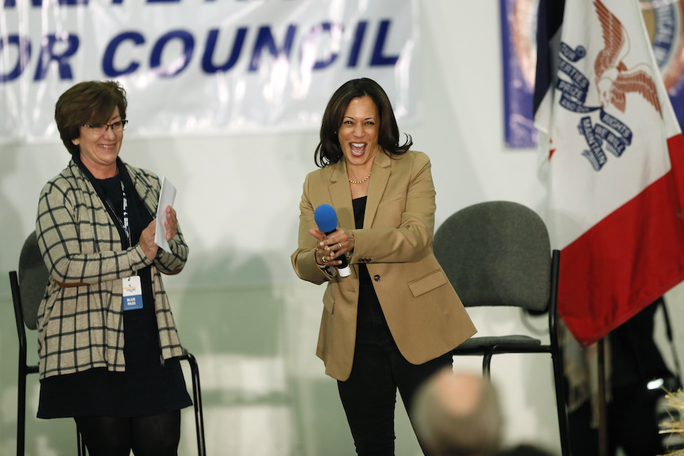 Democratic presidential candidate Sen. Kamala Harris speaks during a fund-raising fish fry for U.S. Rep. Abby Finkenauer, D-Iowa, Saturday, Nov. 2, 2019, at Hawkeye Downs Expo Center in Cedar Rapids, Iowa. (AP Photo/Charlie Neibergall)