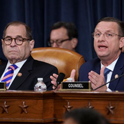 Rep. Doug Collins, R-Ga., the ranking member of the House Judiciary Committee, joined at left by Chairman Jerrold Nadler, D-N.Y., makes his opening statement