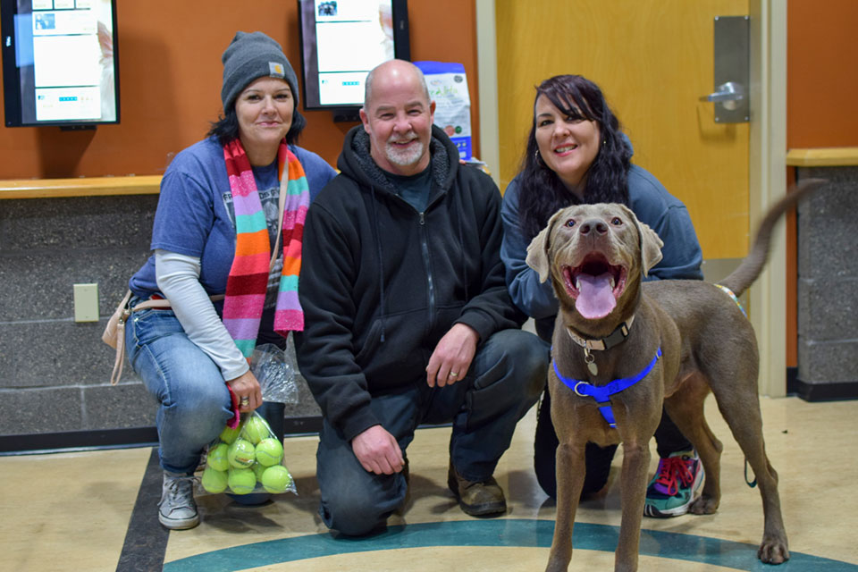 Max smiles for the camera at OHS, just before going home with (L) Dana and Tony Dunlap, OHS employee Dali joins on the right