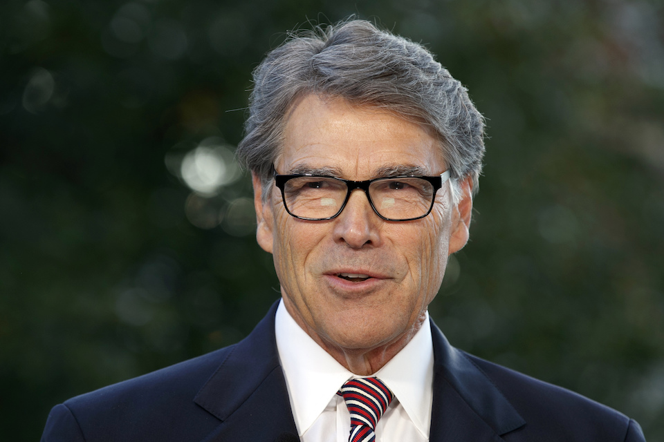 "Oct. 23, 2019, file photo, outgoing Energy Secretary Rick Perry is interviewed at the White House in Washington. The ""three amigos"" used to mean just one thing in Washington -- the trio of globe-trotting senators led by John McCain who brought American idealism to the trouble spots of the world. Now, it refers to another trio, the Trump envoys pushing Ukraine to pursue investigations of Democrats and Joe Biden. (AP Photo/Jacquelyn Martin, File)"